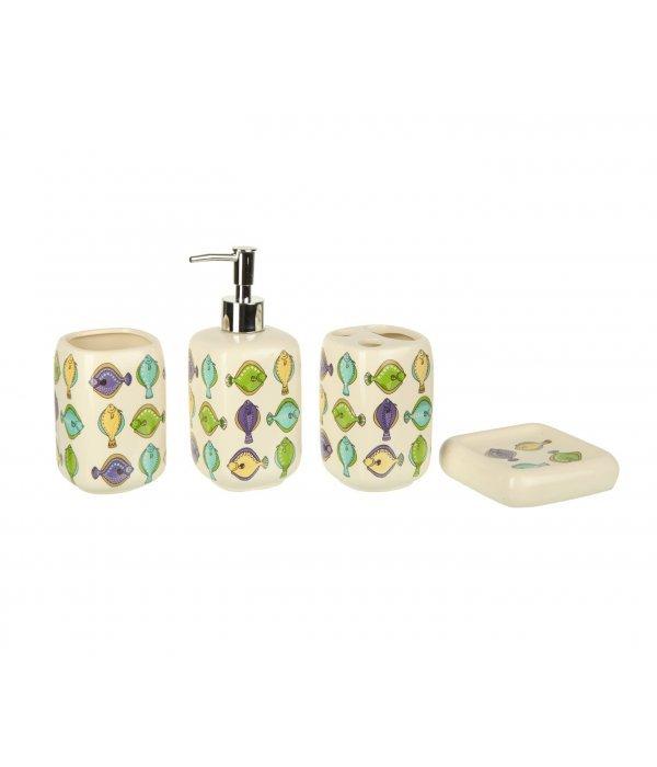 FISH Набор декоративных аксессуаров для ванной комнаты, 4 предмета