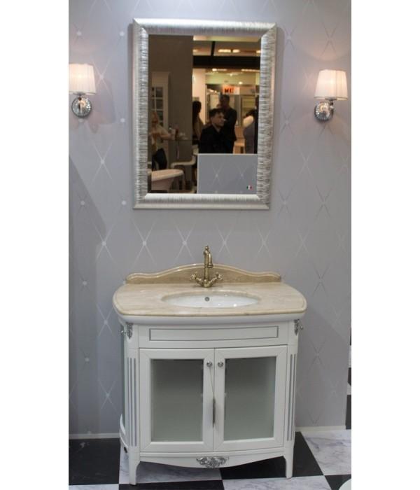 Комплект мебели Bagno Piu Poesia 90 2B в отделке Белый матовый с серебром
