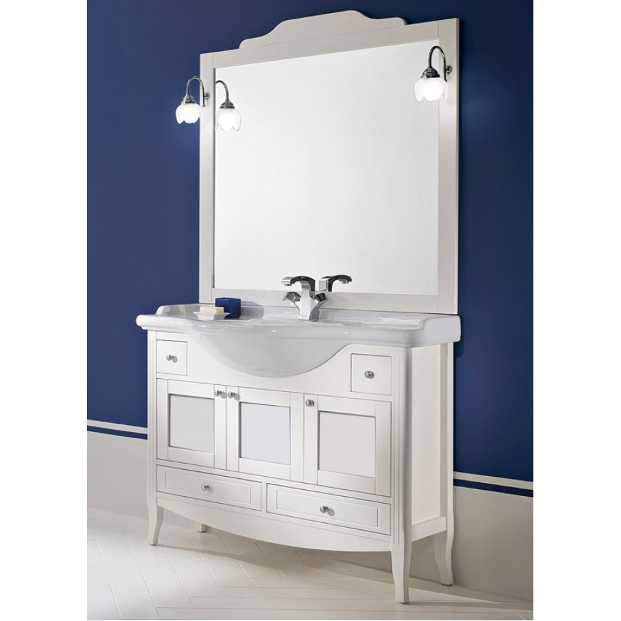 Комплект мебели Bagno Piu Sophia 105 Белый матовый с золотой/серебряной с «глухими» дверцам