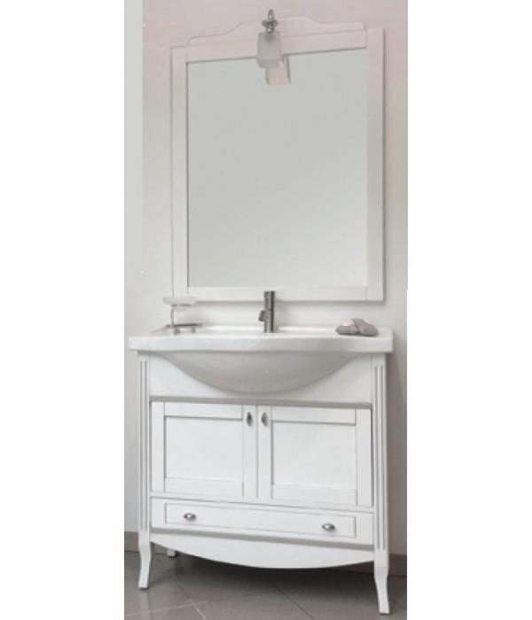 Комплект мебели Bagno Piu Sophia 85 Белый матовый с золотой/серебряной патиной с «глухими» дверцами