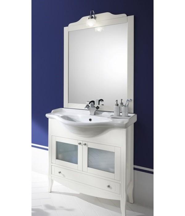 Комплект мебели Bagno Piu Sophia 85 Белый матовый с золотой/серебряной патиной с дверцами под стекло