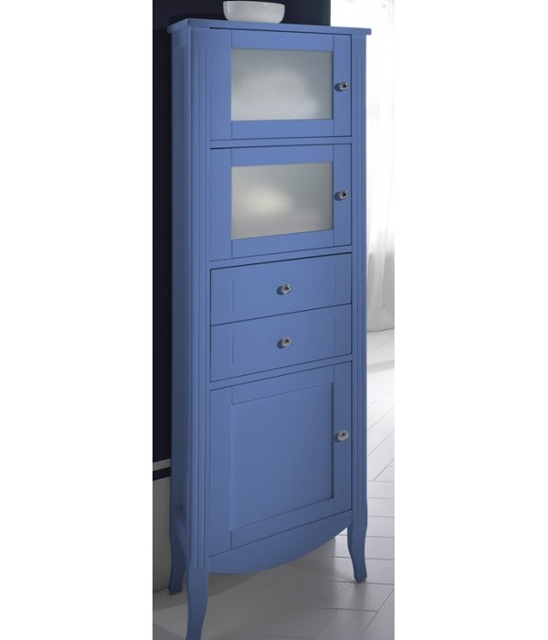 Колонна с тремя дверцами в отделке голубой Bagno Piu Sophia