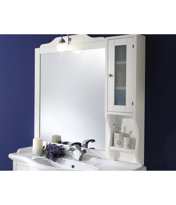 Зеркало-шкаф в деревянной раме в отделке Белый матовый с золотой/серебряной патиной Bagno Piu Sophia 101