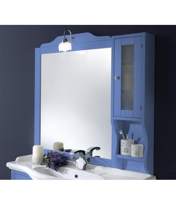 Зеркало-шкаф в деревянной раме в отделке голубой Bagno Piu Sophia 101