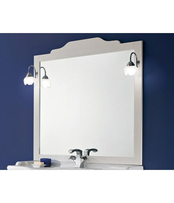 Зеркало в деревянной раме в отделке Белый матовый с золотой/серебряной патиной Bagno Piu Sophia 101