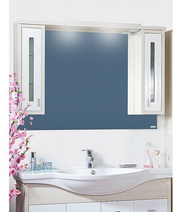Зеркало Бриклаер Бали 120 светлая лиственница/белый глянец