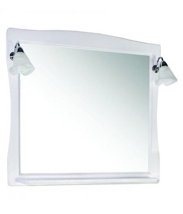 Зеркало ASB-Woodline Модена 85 белое с серебряной патиной массив ясеня
