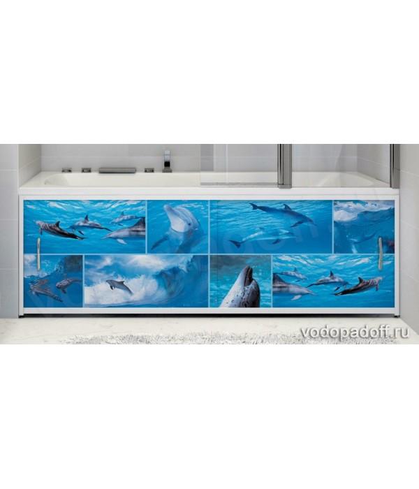 Фото-экран под ванну Francesca Premium  Дельфины размер на заказ изготовление 1-2 дня