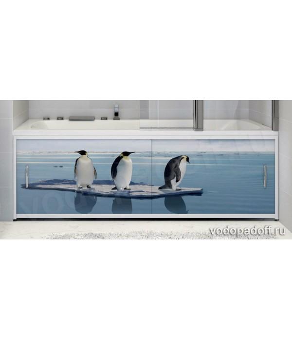 Фотоэкран для ванной  Francesca Premium Пингвины на льдине Размер на заказ изготовление 1-2 дня