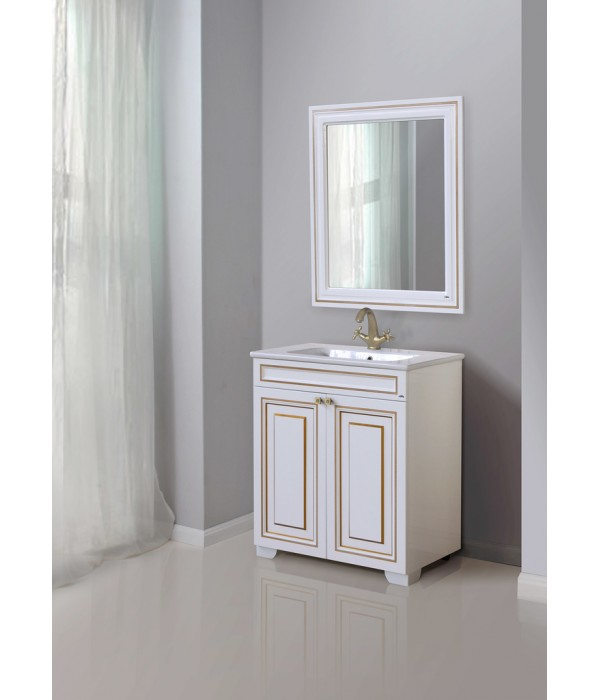 Зеркало Атолл Мальта 80, белый/золото