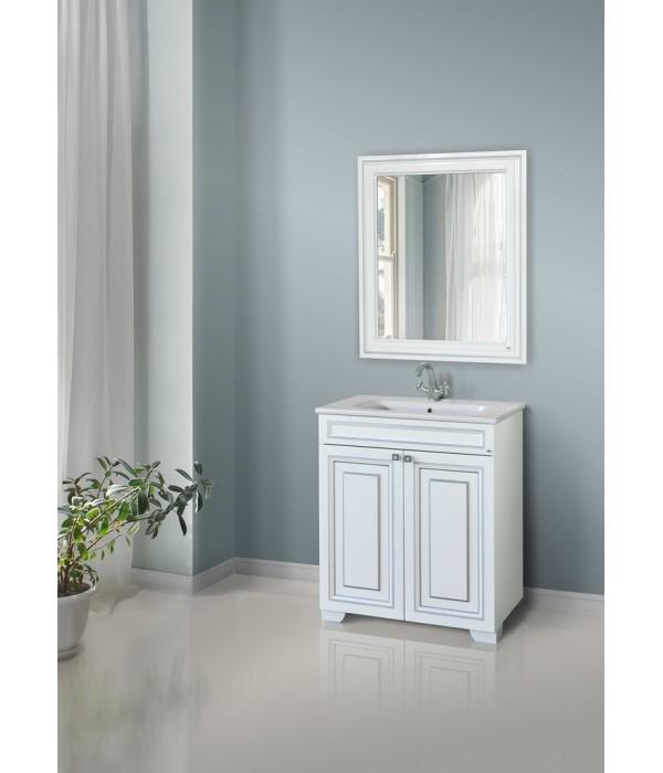 Зеркало Атолл Мальта 80, белый/серебро