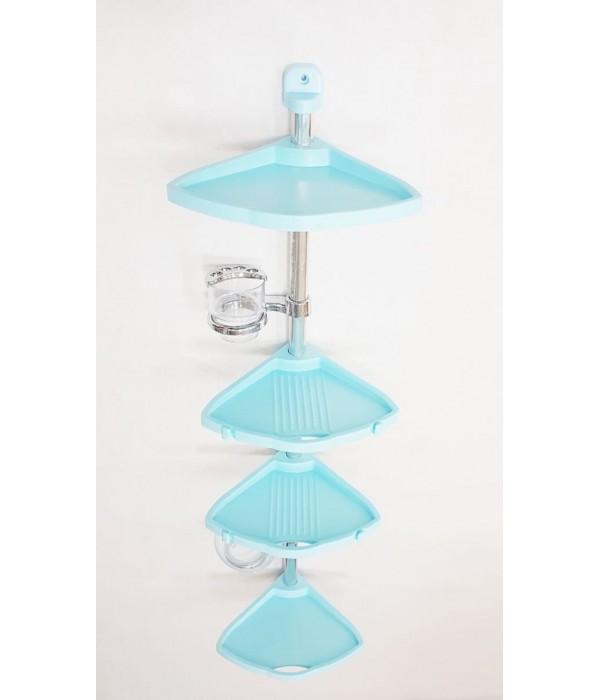 Комплект угловых полок с мыльницей и стаканом голубой