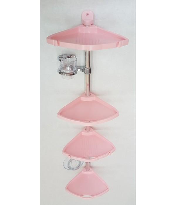 Комплект угловых полок с мыльницей и стаканом розовый