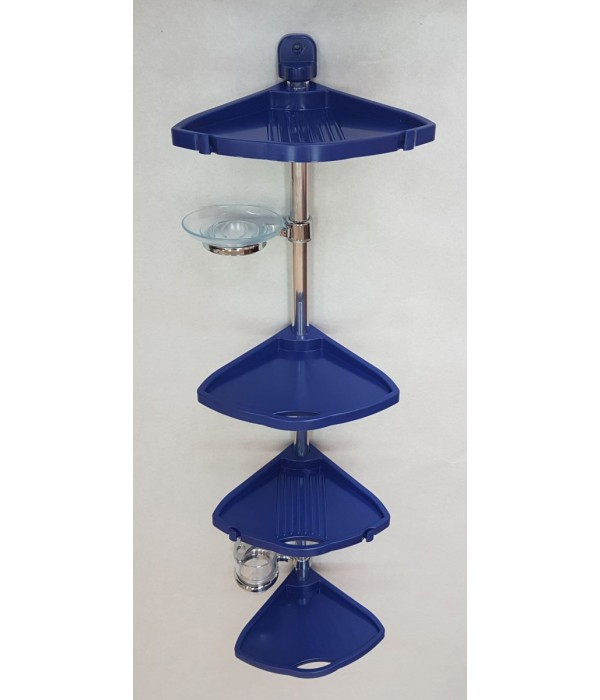 Комплект угловых полок с мыльницей и стаканом синий