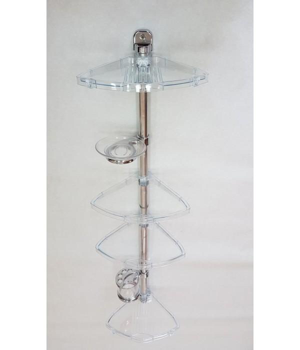 Комплект угловых полок с мыльницей и стаканом прозрачно-натуральный