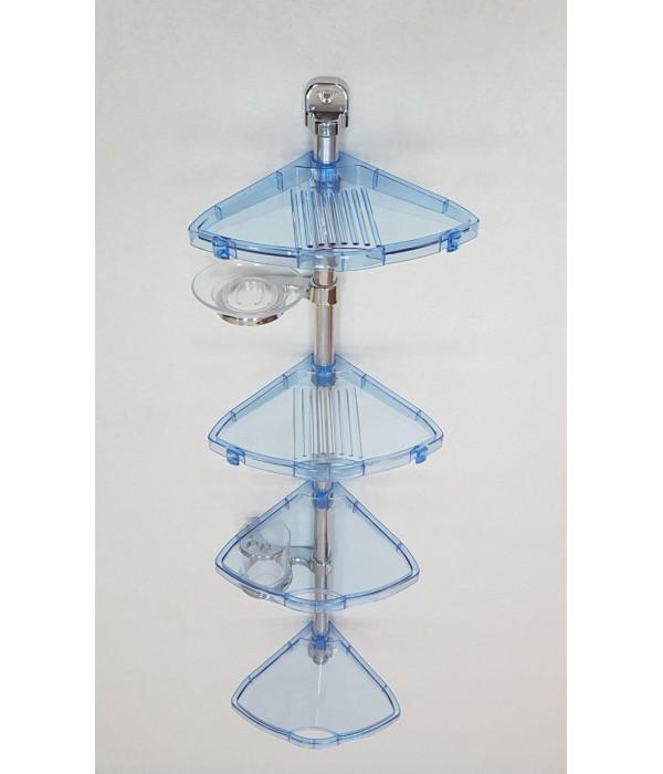 Комплект угловых полок с мыльницей и стаканом прозрачно-голубой