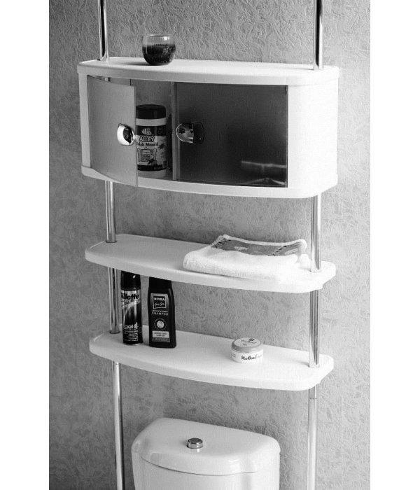 Шкафчик для ванной с двумя полками на хромированных штангах