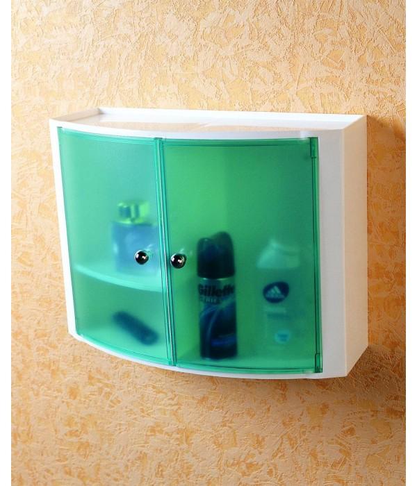 Пластиковый настенный шкафчик с дверцами прозрачно-зеленый