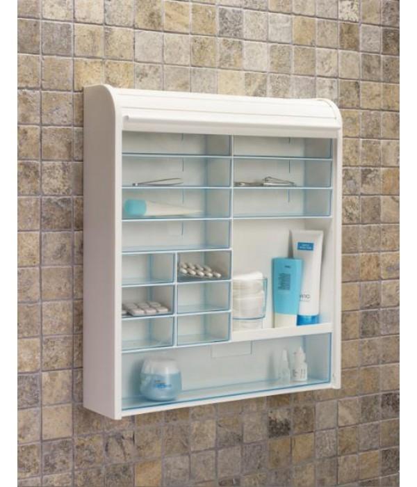 Настенный шкаф-аптечка с закрывающейся шторкой