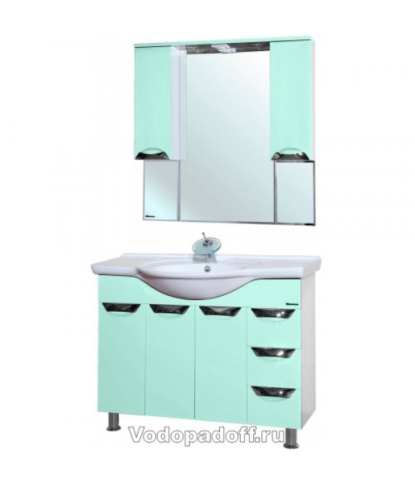 Комплект мебели Bellezza Белла 105 Люкс с бельевой корзиной, салатовый