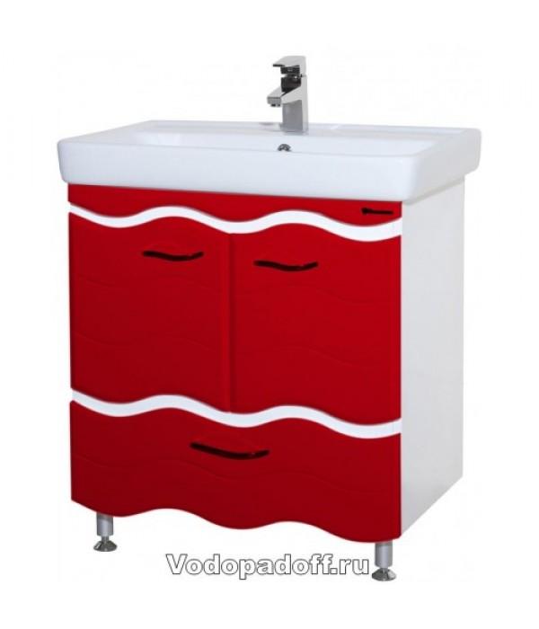Тумба с раковиной Bellezza Мари 70 с нижним ящиком, красный