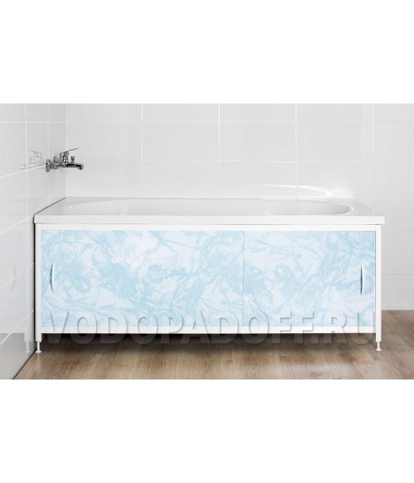 Фотоэкран под ванну 4714 Мрамор голубой Премиум Размер 148/168