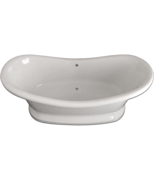 Ванна из искусственного камня Фэма Габриэлла белая на подиуме