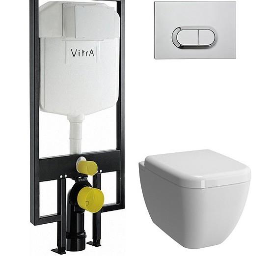 Комплект Система инсталляции для унитазов VitrA 748-5800-01 3/6 л + Чаша для унитаза подвесного VitrA Shift 7742B003-0075 + Кнопка смыва VitrA 740-0580 хром + Крышка-сиденье VitrA Shift 91-003-009 с микролифтом, петли хром