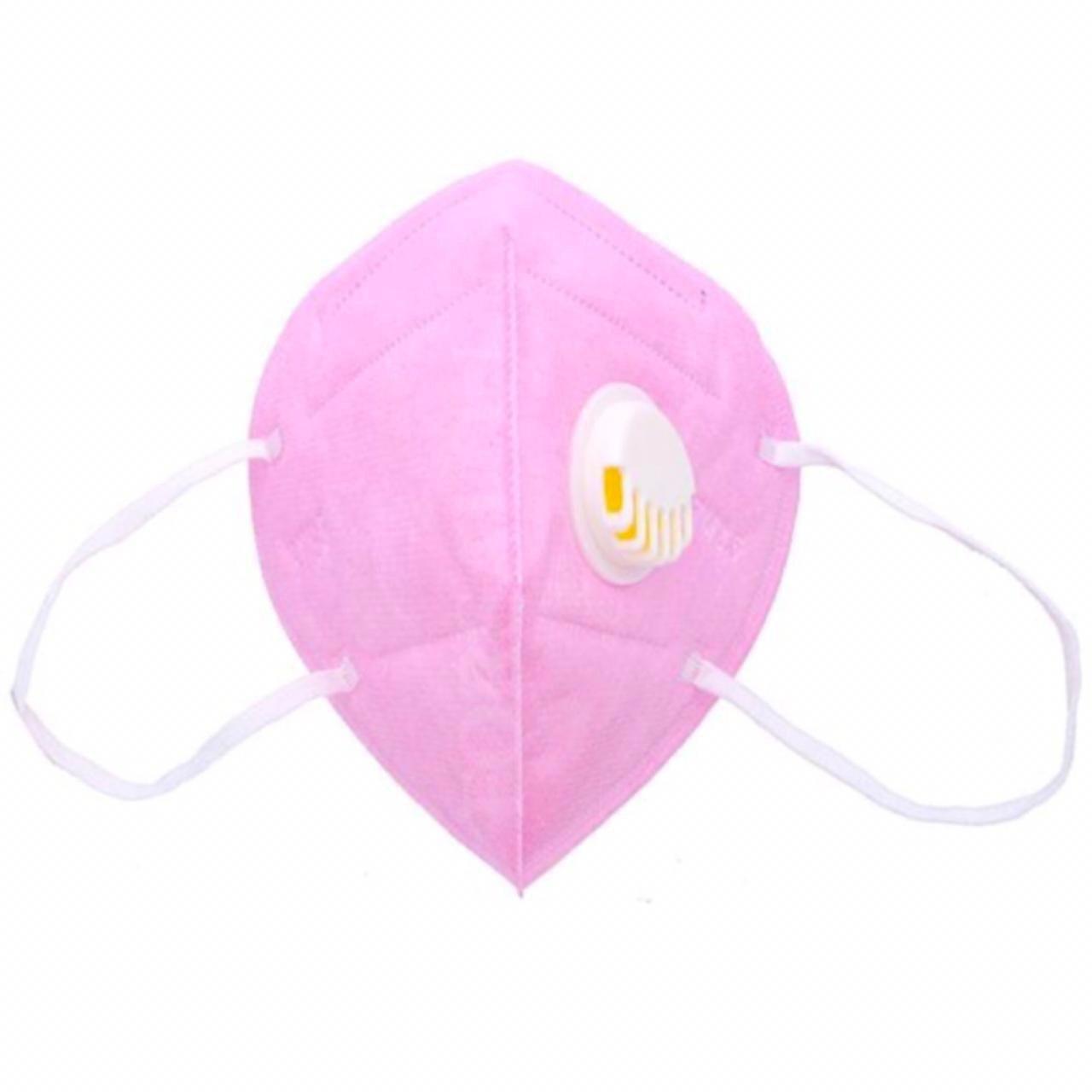 Респираторная маска 6-ти слойная защитная с клапаном, розовая