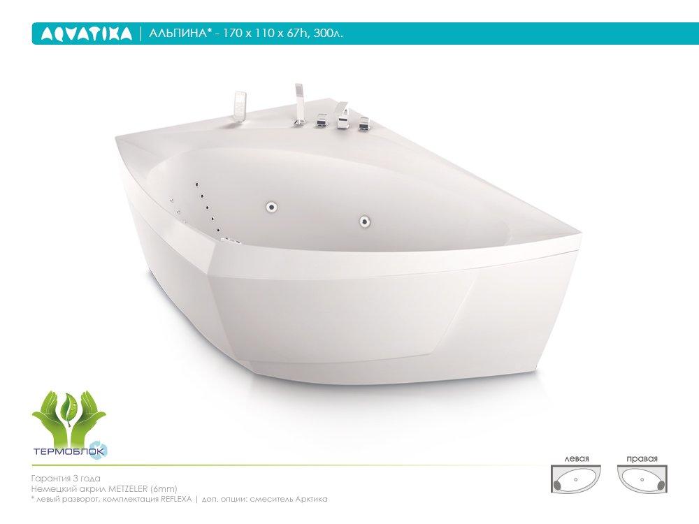 Акриловая ванна Aquatika Альпина 170 STANDART