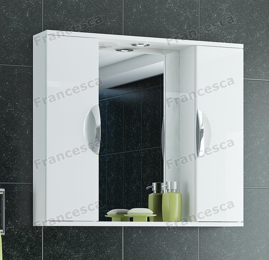 Купить со скидкой Шкаф-зеркало Francesca Доминго 80 белый 2 шкафа