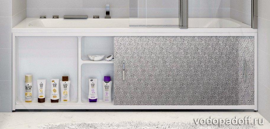 Купить со скидкой Экран под ванну с полочкой Francesca Premium 1.5/1.7/1.8 игристый лёд серебро