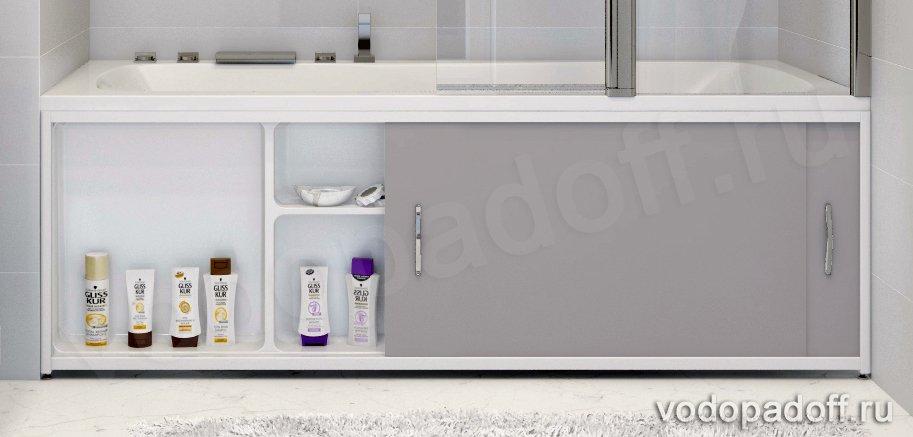 Экран под ванну с полочкой Francesca Premium 1.5/1.7/1.8 серый