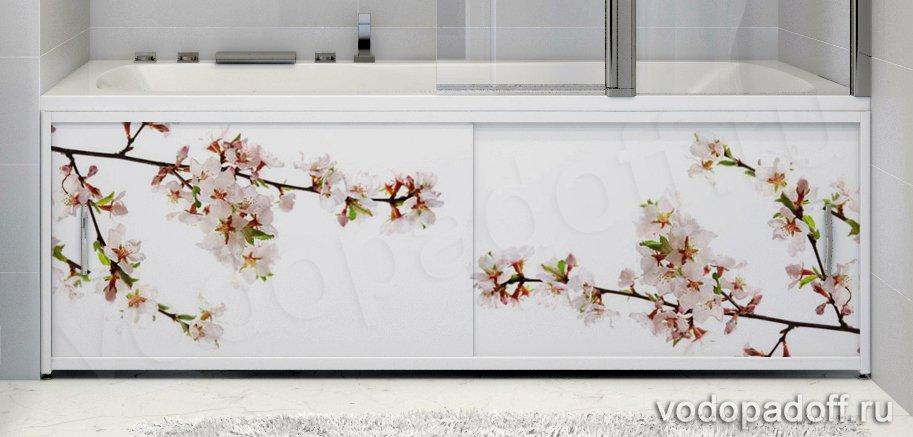 Фотоэкран под ванну Francesca Premium Цветение сакуры Размер на заказ изготовление 1-2 дня