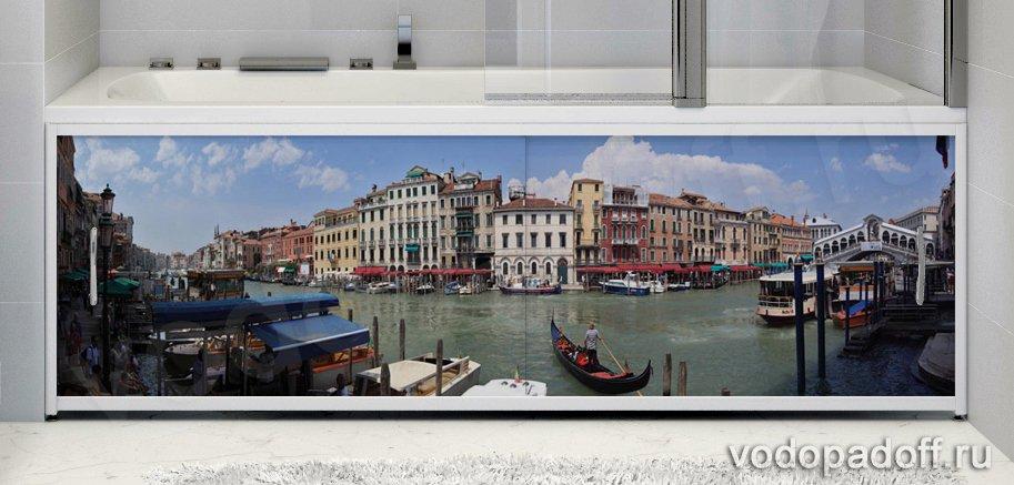 Купить со скидкой Фотоэкран для ванной Francesca Premium Город на воде Размер на заказ изготовление 1-2 дня