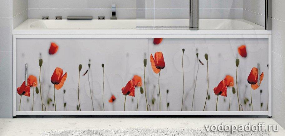 Фотоэкран для ванной  Francesca Premium Красные маки Размер на заказ изготовление 1-2 дня