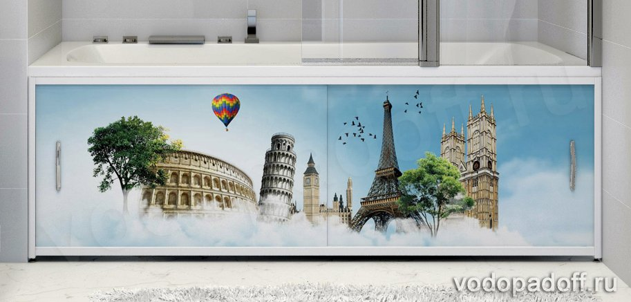 Фотоэкран для ванны Francesca Premium Летающий город Размер на заказ изготовление 1-2 дня