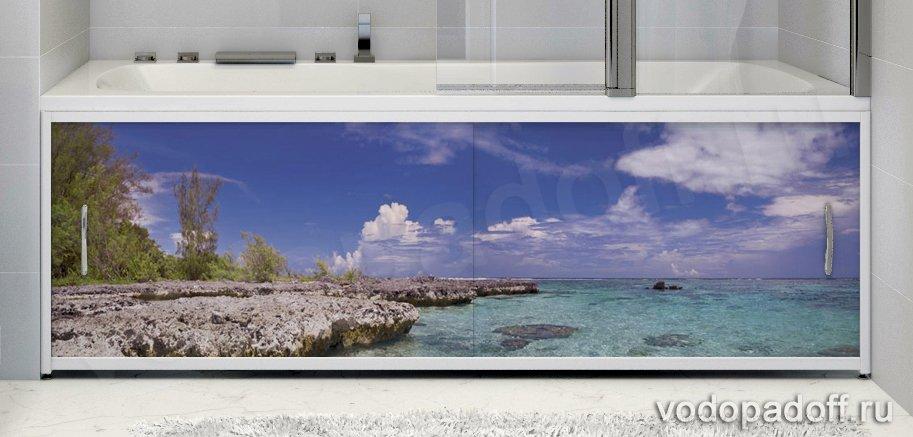Фотоэкран для ванной  Francesca Premium Остров Размер на заказ изготовление 1-2 дня