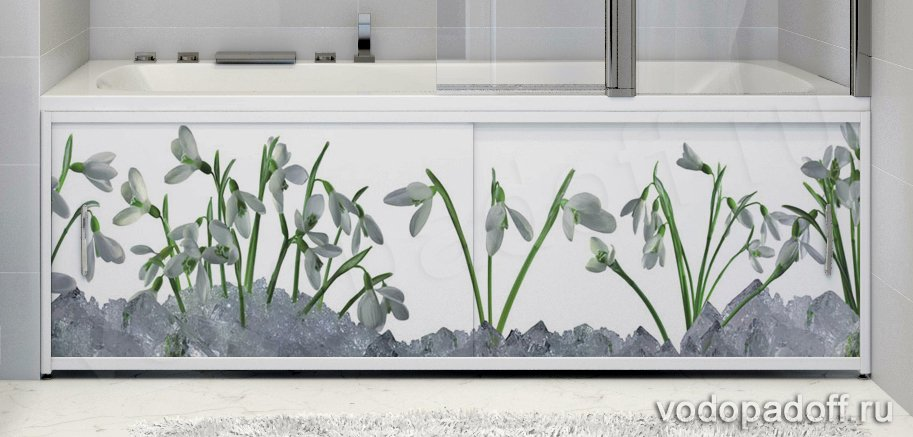 Фотоэкран под ванну Francesca Premium Подснежники Размер на заказ изготовление 1-2 дня