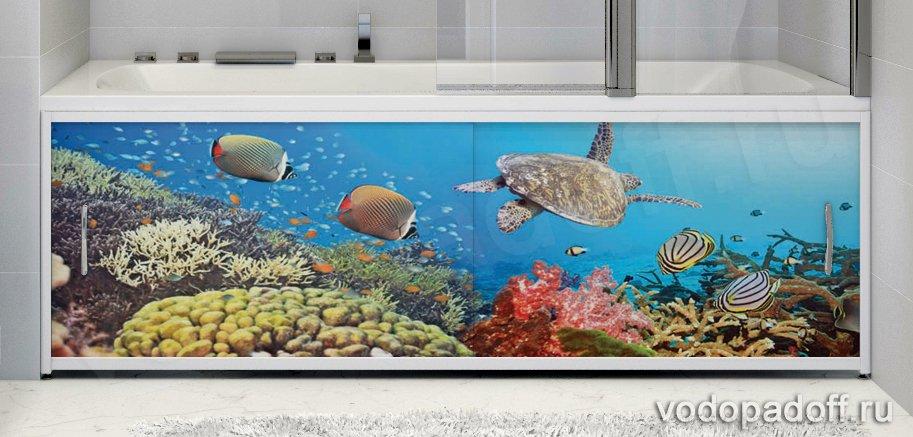 Фотоэкран под ванну Francesca Premium Полёт черепахи Размер на заказ изготовление 1-2 дня