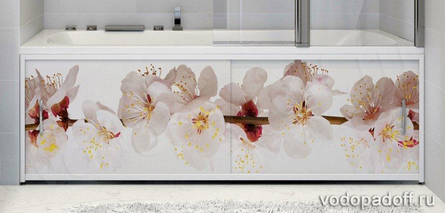 Фотоэкран под ванну Francesca Premium Японская сакура Размер на заказ изготовление 1-2 дня