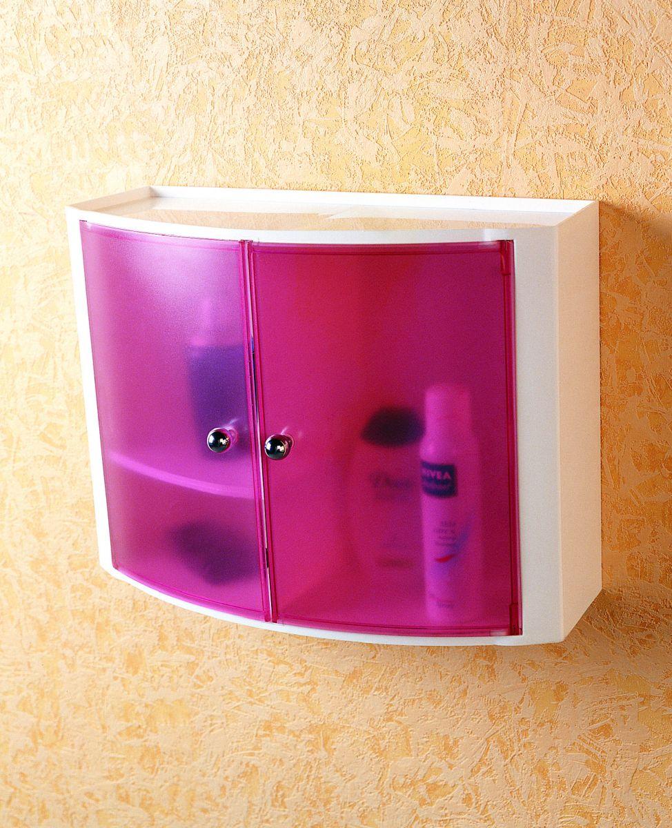 Пластиковый настенный шкафчик с дверцами прозрачно-розовый