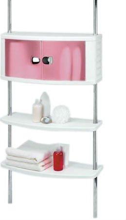 Шкафчик для ванной с двумя полками на хромированных штангах: прозрачно-розовые дверцы