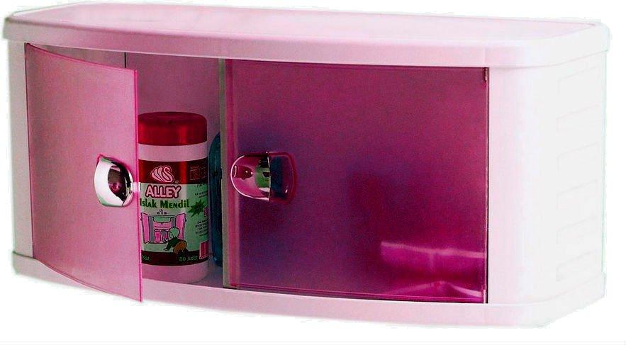 Шкафчик для ванной пластиковый с прозрачно-розовыми дверками