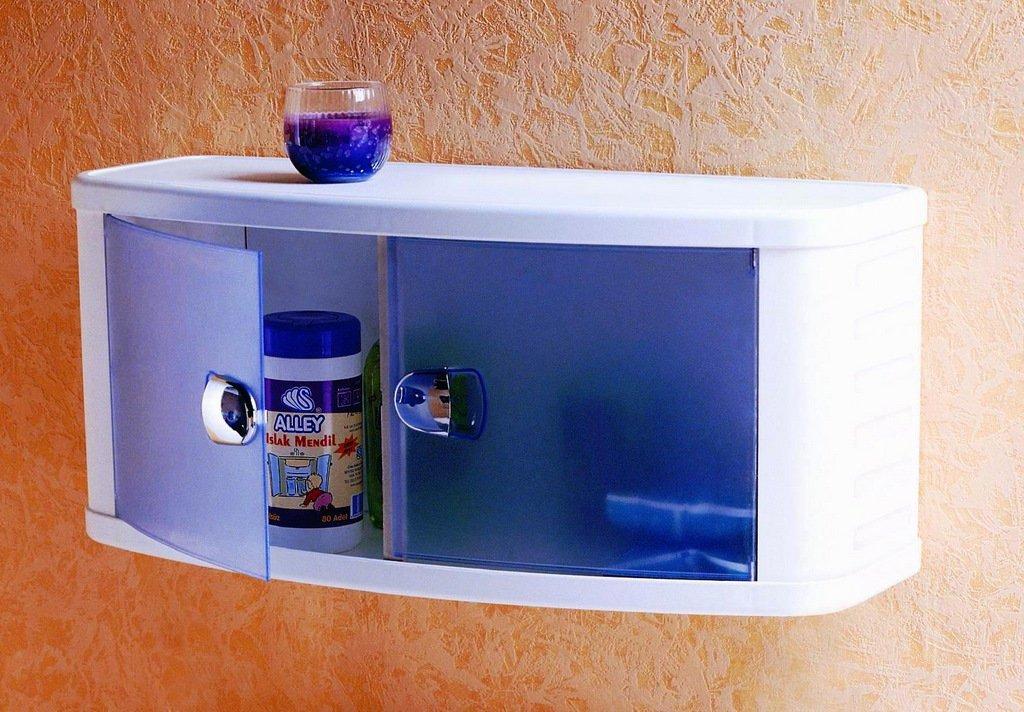 Шкафчик для ванной пластиковый с прозрачно-голубыми дверками