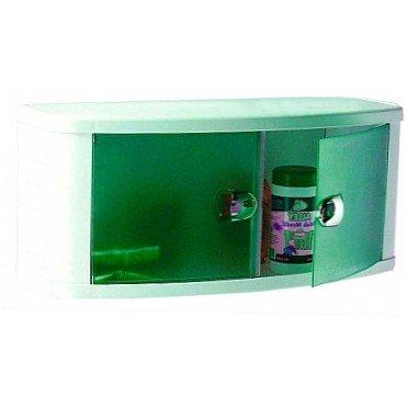 Шкафчик для ванной пластиковый с прозрачно-зелеными дверками