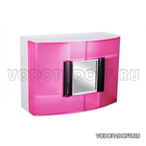 Пластиковый шкафчик для ванной с зеркальцем прозрачно-розовый