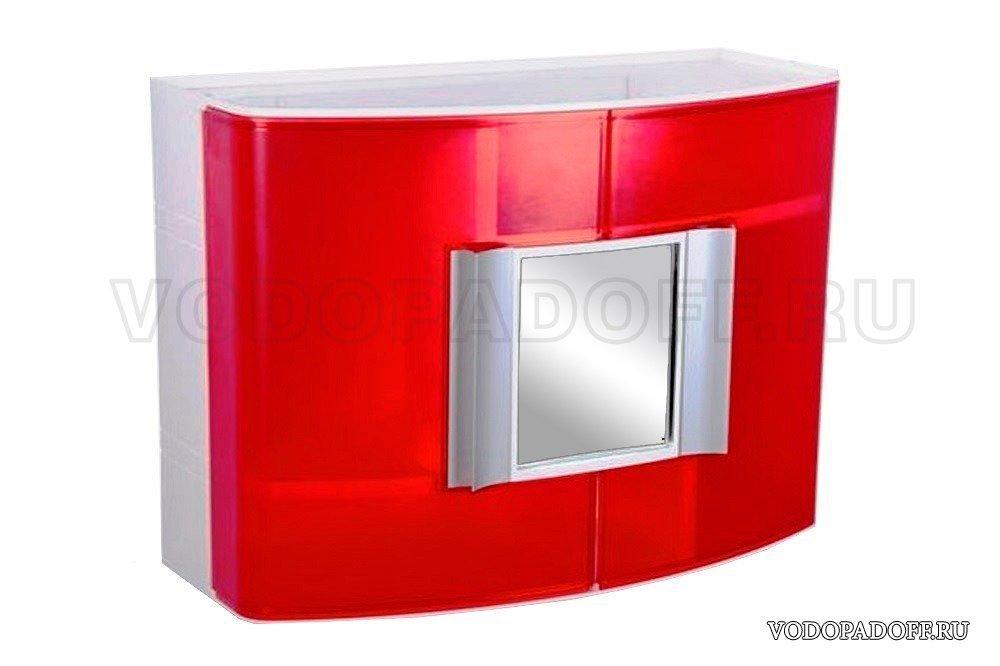 Пластиковый шкафчик для ванной с зеркальцем прозрачно-красный