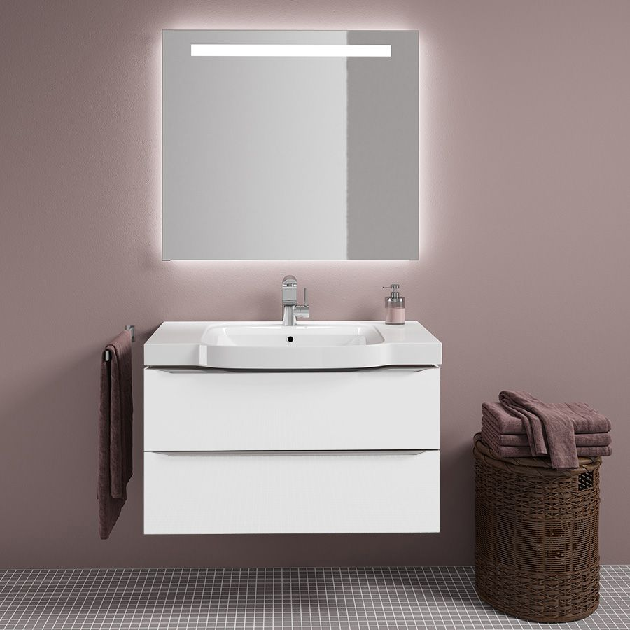 Комплект мебели Sanvit Тандем 90 белый глянец